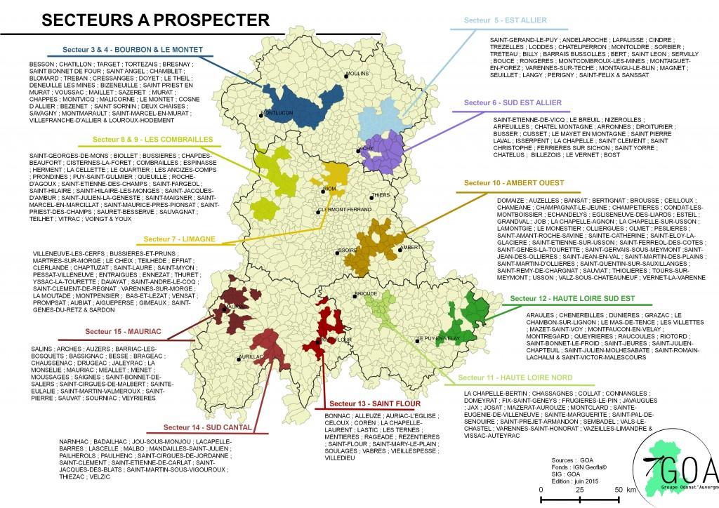 Carte des communes à prospecter